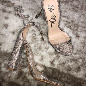 Snake print heel